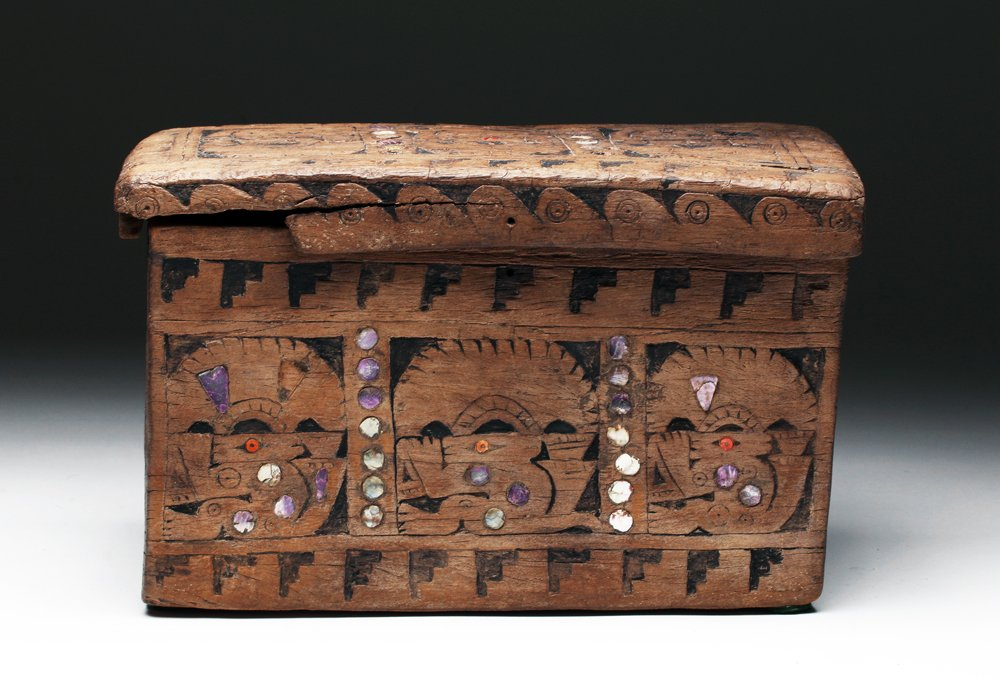 Chimu Lidded Wood Box, Shell Inlays, ex-Sotheby's